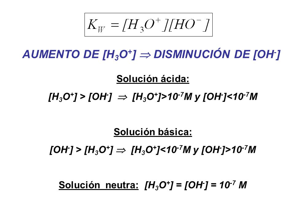 AUMENTO DE [H3O+]  DISMINUCIÓN DE [OH-]